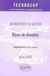 Information De Gestion Base De Donnees Implementation Avec Access - Intérieur - Format classique