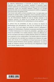 Probabilités, variables aléatoires, convergences, conditionnement ; niveau m1 - 4ème de couverture - Format classique