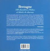 Bretagne, 100 Chambres D'Hotes Et Hotels De Charme - 4ème de couverture - Format classique