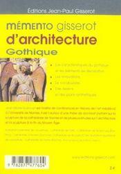 Memento Gisserot D'Architecture Gothique - 4ème de couverture - Format classique