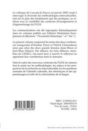 Quelle didactique de l'interculturel dans les nouveaux contextes du FLES ? - 4ème de couverture - Format classique