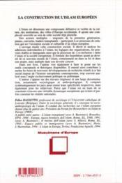 Construction De L'Islam Europeen. Approche Socio-An - 4ème de couverture - Format classique