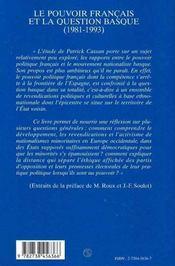 Le Pouvoir Francais Et La Question Basque, 1981-1993 - 4ème de couverture - Format classique