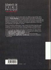 Elements De Chimie Physique - 4ème de couverture - Format classique