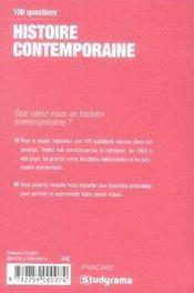 Histoire contemporaine - 4ème de couverture - Format classique