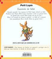 L'Arrivee Du Bebe - 4ème de couverture - Format classique