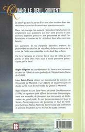 Quand Le Deuil Survient - 4ème de couverture - Format classique