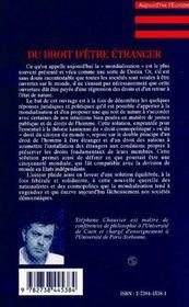 Du Droit D'Etre Etranger ; Essai Sur Le Concept Kantien D'Un Droit Cosmopolitique - 4ème de couverture - Format classique