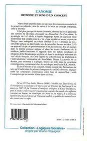 L'Anomie ; Histoire Et Sens D'Un Concept - 4ème de couverture - Format classique