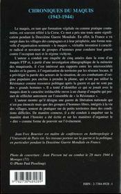 Chroniques Du Maquis 1943-1944 ; Ftp Du Camp Jean Pierson Et D'Ailleurs - 4ème de couverture - Format classique