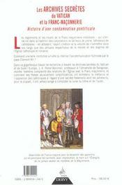 Les archives secretes du vatican et la franc-maconnerie - 4ème de couverture - Format classique