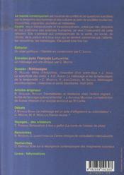 Revue L'Autre N.8-2 ; Métissages - 4ème de couverture - Format classique