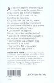 Espèces en danger ! enquête sur la biodiversité française - 4ème de couverture - Format classique