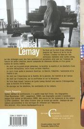 Les Cahiers Noirs De Lynda Lemay - 4ème de couverture - Format classique