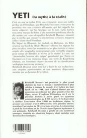 Yeti ; Du Mythe A La Realite - 4ème de couverture - Format classique