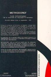 Methodoref - 4ème de couverture - Format classique