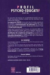 Profil Psycho-Educatif Vol.1 (Pep-R) - 4ème de couverture - Format classique