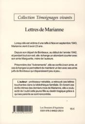 Lettres de Marianne ; lettres d'une jeune fille juive sous l'Occupation - 4ème de couverture - Format classique