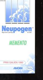 Neupogen - Memento - Prix Galien 1992 - Couverture - Format classique