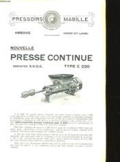 Nouvelle Presse Continue Type C 220 - Couverture - Format classique