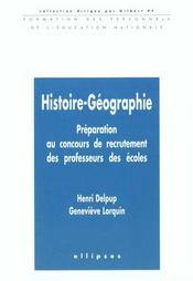 Histoire-Geographie Preparation Au Concours De Recrutement Des Professeurs Des Ecoles - Intérieur - Format classique