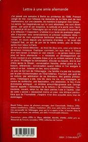 Lettre à une amie allemande ; en marge d'un voyage à Berlin, juin 1998 - 4ème de couverture - Format classique