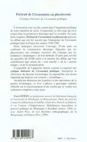 Portrait De L'Economie En Physiocrate - 4ème de couverture - Format classique
