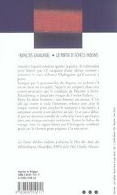 La partie d'échecs indiens - 4ème de couverture - Format classique