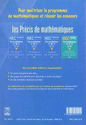 Precis de maths hec ; algebre - 4ème de couverture - Format classique