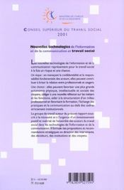 Nouvelles Technologies De L Information Et De La Communication Et Travail Social - 4ème de couverture - Format classique