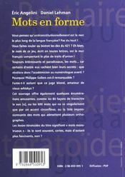 Mots en forme - 4ème de couverture - Format classique