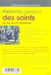 Memento gisserot des saints et de leurs attributs - 4ème de couverture - Format classique