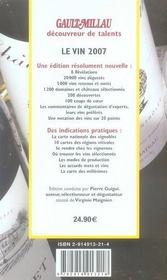 Guide gault millau le vin 2007 - 4ème de couverture - Format classique