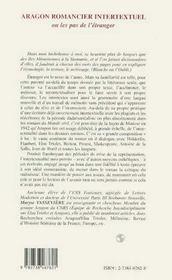 Aragon Romancier Intertextuel Ou Les Pas De L'Etranger - 4ème de couverture - Format classique