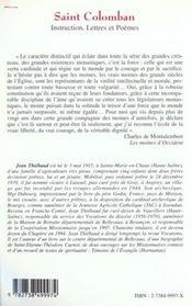 Saint Colomban ; instructions, lettres et poèmes - 4ème de couverture - Format classique