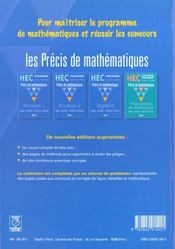 Precis de maths hec ; analyse t.1 option scientifique - 4ème de couverture - Format classique