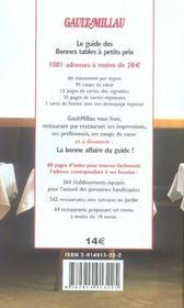 Bonnes Tables A Petits Prix. 1001 Adresses A - De 28 Euros. - 4ème de couverture - Format classique