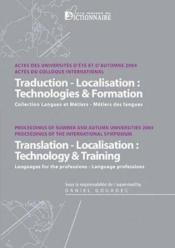 Traduction-localisation : technologies et formation - Couverture - Format classique
