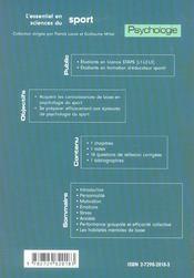 Psychologie ; Licences Staps, Educateurs Sportifs - 4ème de couverture - Format classique