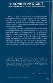 Volonte Et Involonte Dans La Pensee Occidentale Et Orientale - 4ème de couverture - Format classique