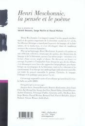 Henri Meschonnic, La Pensee Et Le Poeme - 4ème de couverture - Format classique