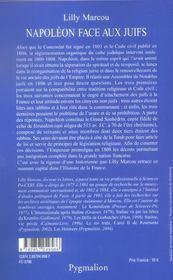 Napoleon Face Aux Juifs - 4ème de couverture - Format classique