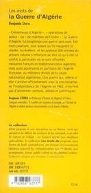 Les Mots De La Guerre D'Algerie - 4ème de couverture - Format classique