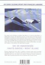 Ski de randonnée ; Haute-Savoie, Mont-Blanc - 4ème de couverture - Format classique