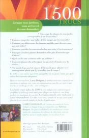 Les 1500 Trucs Du Jardinier Paresseux - 4ème de couverture - Format classique