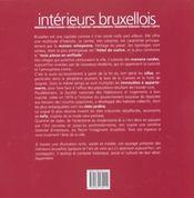Interieurs Bruxellois - 4ème de couverture - Format classique