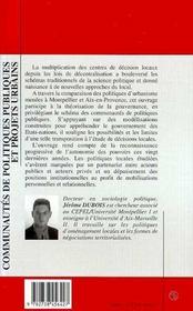 Communautes De Politiques Publiques Et Projets Urbains - 4ème de couverture - Format classique