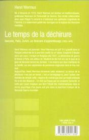Le Temps De La Dechirure - 4ème de couverture - Format classique