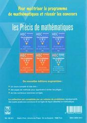 Precis de maths hec ; probabilitesnet statistiques toutes options - 4ème de couverture - Format classique