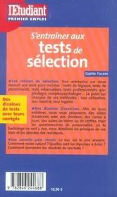 S'Entrainer Aux Tests De Selection - 4ème de couverture - Format classique
